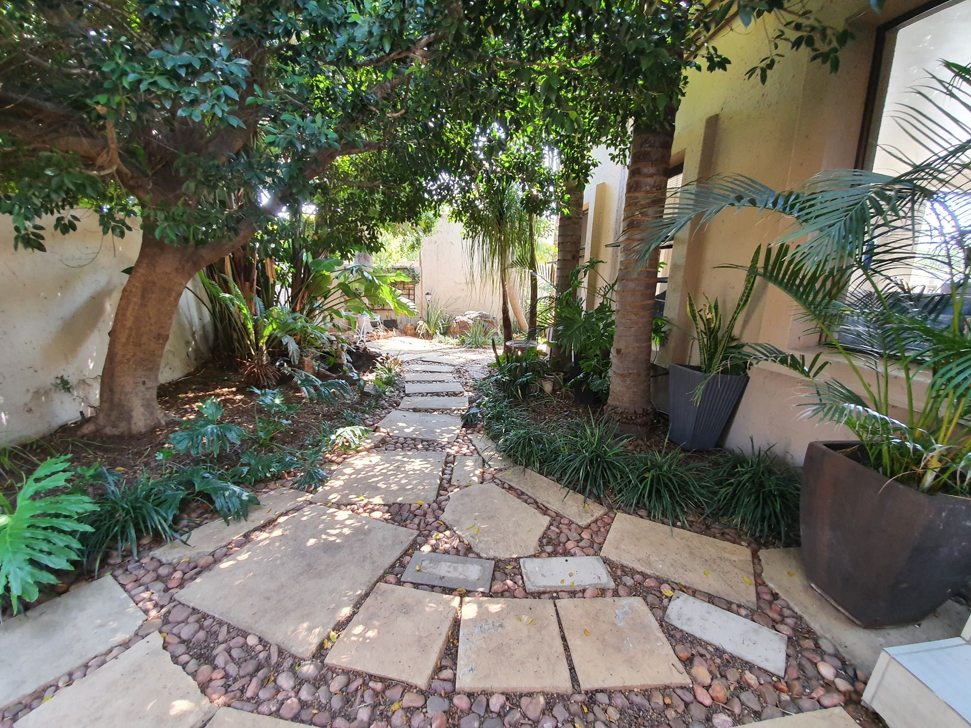 Tranquil garden at the entrance of the property