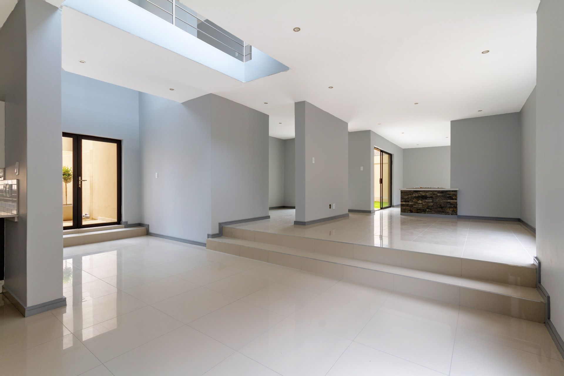 Entrance, open plan dining room and living room